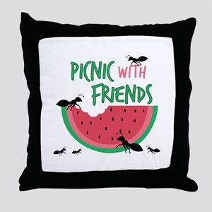 Picnic With Friends Throw Pillow
